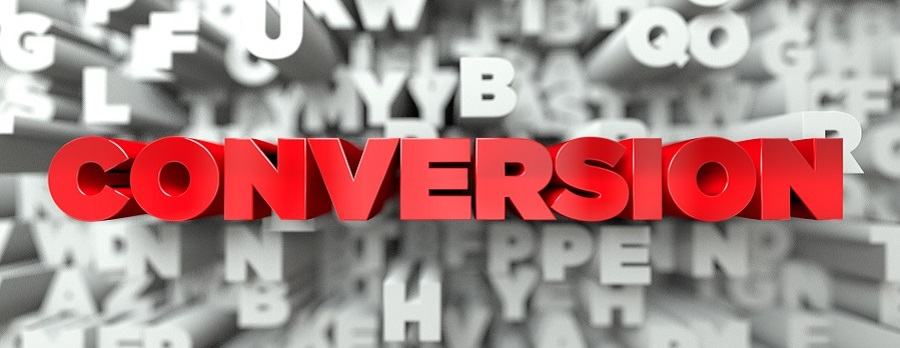 CONVERSION -  Red text on typography background - 3D rendered royalty free stock image. This image can be used for an online website banner ad or a print postcard.